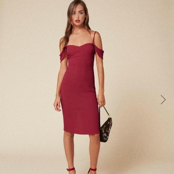 Reformation Rena Off Shoulder Red Dress | Red dress